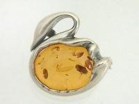 Echte Silberbrosche 925 Schwan mit Bernstein - Brosche Silber - Silberschwan