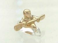 Kleiner Kajakfahrer Kristall facettiert Kajak Miniatur Gold 22kt vergoldet Sport