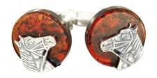 Manschettenknöpfe Silber 925 massiv mit Bernstein - Pferd - Reiter - Pferdekopf