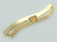 Moderner Schwung!! Brosche Gold 585 mit Zitrin Carree - Goldbrosche Anstecknadel
