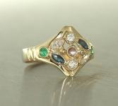 Goldring 585 multicolor Edelsteinring Rubin Saphir - Ring Gold - Damenring 14 kt