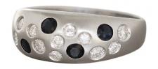 Weißgoldring 585 - Ring Weißgold Brillant u. Saphir - Brillantring 0, 30 ct. Gold