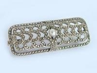 Antike Brosche 935 mit Perle und Markasiten Silberbrosche Wien um 1925