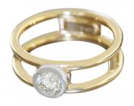 Ring Gold 750 Brillantring 0, 44 ct Goldring 18 Karat Brillant Solitärring RW 55