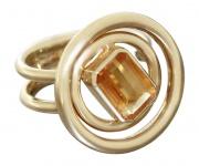 Designerring Gold 585 mit Citrin Damenring 14 Kt Gelbgold Ring Goldring 9, 4 gr.