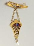 Brosche vergoldet, Jugendstil, Arbeit um 1900, Glassteinbesatz