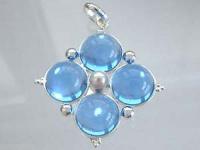 Zauberhafter Anhänger Silber 925 echte Perle u. blaue Steine Silberanhänger