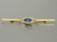 Brosche Gold 585 mit safir-blauem Schmuckstein, Goldbrosche 14 kt - Stabbrosche