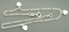Fußkette Silber 925 Herz Fußkette Silberherz Silberkette Figarokette Herzen
