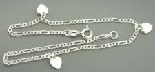 Fußkette Silber 925 mit Herzen - Fußkette Silberherz - Silberkette Figarokette