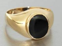 Goldring 750 mit Onyx - Herrenring - Ring Gold 18 kt - Solitärring breiter Ring