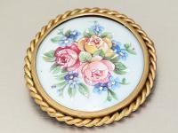 Antike Brosche mit Porzellanmalerei, Blumenmotive, Limoges France