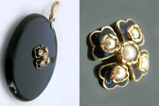 Ovaler Anhänger Onyx mit Perlen - Deutsch um 1860/1870