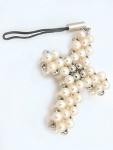 Handy Anhänger Kreuz aus echten Perlen - Perlenanhänger Silber 925