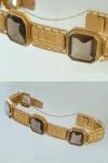 Armband Gold massiv um 1900 - Dukatengold 986 - mit Rauchquarz - Goldarmband