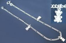 Massives trendiges Fußkettchen echt Silber 925 mit Teddy - Fußkette Silberkette