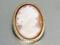 Brosche Gold 585 mit 1 Muschelcamee, 23x 17 mm - Goldbrosche - Camee