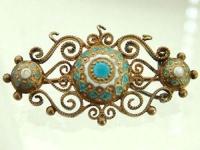 Dekorative Brosche in Silber 800 - vergoldet mit Email - Silberbrosche