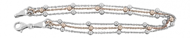3-reihige Halskette od Armband Silber 925 bicolor Rotgold Kugelkette Silberkette - Vorschau 5