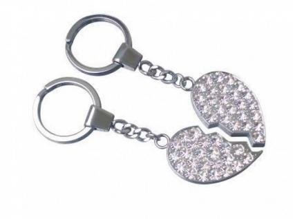 Schlüsselanhänger geteiltes Herz mit Strassteinen