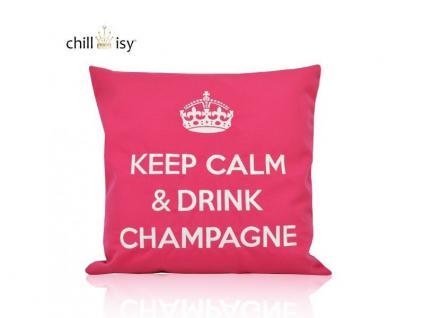 Kissen Keep Calm & Drink Champagne pink.weiß 40x40