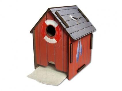 Der witzige Toilettenpapierabroller als rustikales Bootshaus
