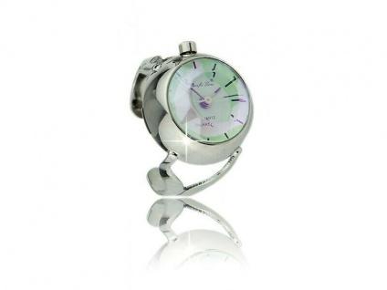 Die winzige Quarz-Uhr im Ring für die Dame - PERLMUTT