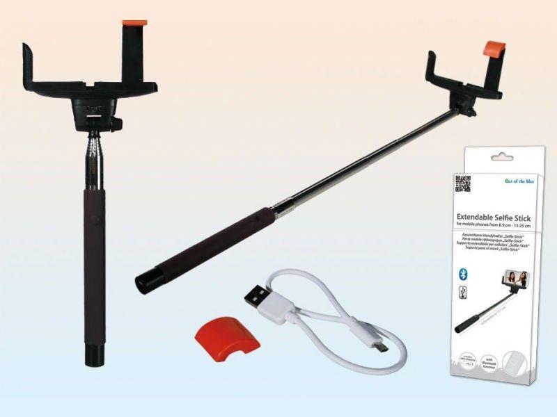 Selfie teleskop handyhalter 105 cm mit bluetooth ladekabel und akku