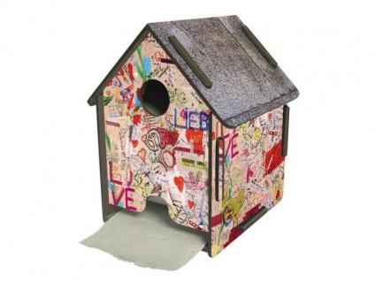 Der witzige Toilettenpapierabroller als Graffiti Haus