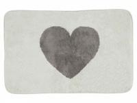 Badematte mit Herz, beige/braun 50 x 80 cm