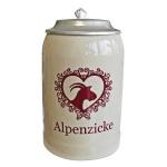 Steinkrug Alpenzicke mit Zinndeckel 0, 5l