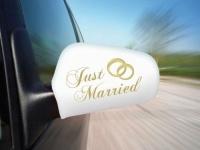 Auto Aussenspiegelfahne Just Married - Rechts und Links