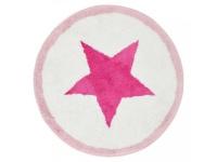 Runde Badematte mit Stern pink/weiss/rosa D=70cm