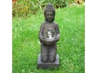 Buddha kniend 44 cm mit Glasschale für Teelicht