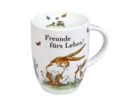 Die romantische Tasse - Freunde fürs Leben mit Hasen Motiv