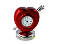Tischuhr der Liebe - mit rotem Herz und Pfeil
