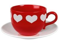 Jumbo Tasse - weisse Herzen, pokalrote Tasse