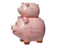 Sparschwein Duo - Papas Kohle zu Muttis Wohle rosa