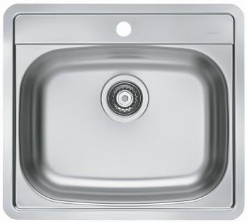 Küchenspüle Edelstahl 56 cm Einbauspüle mit Hahnloch Hahnbank Spüle *1111342