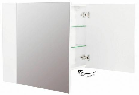 Badezimmer Spiegelschrank 100 cm CARMENTA Spiegel 2 Türen Weiss *CA10062-101