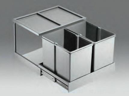 Wesco Shorty Automatic 2 x 15 Liter Abfall Mülleimer Küche Vollauszug *40741