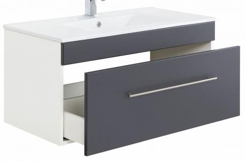 Waschplatz 100 cm Anthrazit Keramikbecken Waschtisch hängend VIVA 1 Schublade