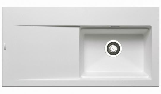 Große Einbauspüle 100x51 cm Küchenspüle Tekton Spülbecken rechts Spüle weiss