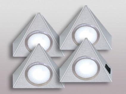 LED 4-er Set Küchen Unterbauleuchte 4 x 3, 5 W Warmweiss Dreieck Lampe *543670