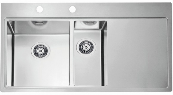 Große Küchenspüle 98 cm Gastro Einbauspüle Edelstahl Spülbecken links *1103654
