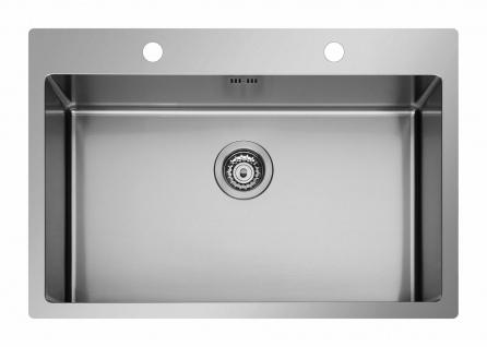 Große Küchenspüle Edelstahl 75, 5 cm Gastro Spülbecken Hahnloch Spüle *101043301