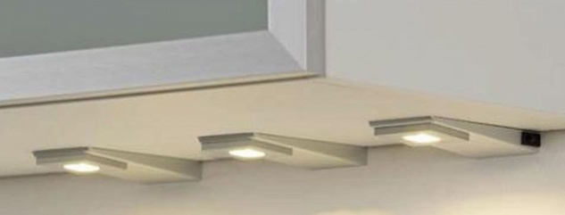 LED Set Küchen Schrank Unterbauleuchte 3 x 3 W Edelstahl Flachkeil Lampe *31183