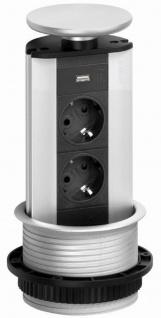 EVOline Port 2-fach Schuko Küchen Einbausteckdose versenkbar USB Charger *543090