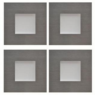 LED Sockelleuchte eckig Einbauleuchte Karo Edelstahl 4 x 0, 35 W warmweiß *543434
