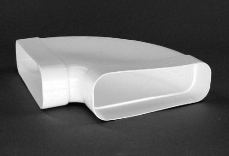 Abluft 90° Bogen waagerecht mit Muffe Flachkanal 230x80 mm Rohrbogen *50465
